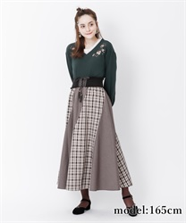 【10%OFF】Check pattern skirt with belt(Brown-Free)