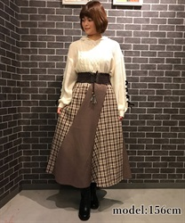 【10%OFF】Check pattern skirt with belt