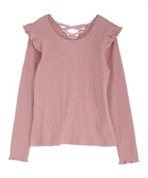 Back lace-up cut pullover(Pale pink-Free)