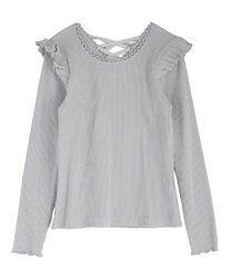 Back lace-up cut pullover(Grey-Free)