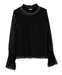 Short Turtleneck Lacey Pullover(Black-Free)