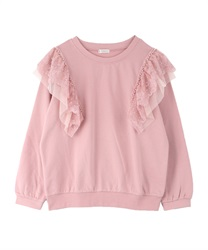 Pearl x lace fleece pullover(Pale pink-Free)
