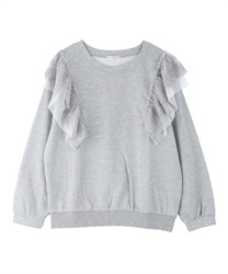 Pearl x lace fleece pullover(Grey-Free)