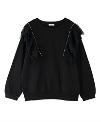 Pearl x lace fleece pullover(Black-Free)