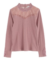 sleeve motif lace pullover(DarkPink-Free)