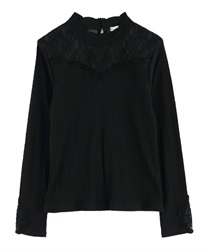 sleeve motif lace pullover(Black-Free)