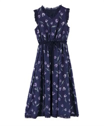 【2Buy10%OFF】Tulip Pattern Dress [Ayana Shibata Collaboration].(Navy-Free)