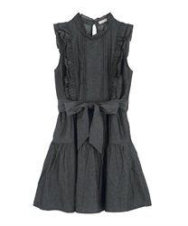 【2Buy10%OFF】Denim Shoulder Frill Dress(Black-Free)