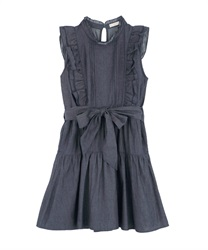 【2Buy10%OFF】Denim Shoulder Frill Dress(Indigo-Free)