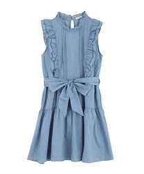 【2Buy10%OFF】Denim Shoulder Frill Dress(Wash-Free)