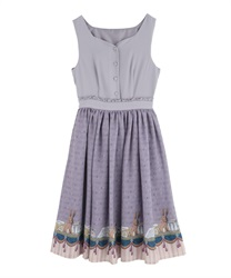 Partition print dress(Purple-Free)
