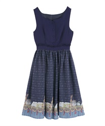 Partition print dress(Blue-Free)