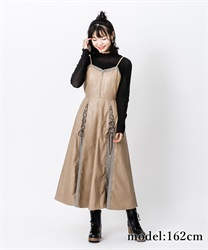 【2Buy10%OFF】Fake leather dress(Brown-Free)