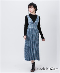 Check 2 way jumper skirt(Saxe blue-Free)