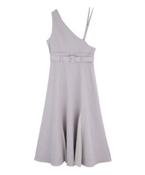 One-shoulder long dress(Grey-Free)