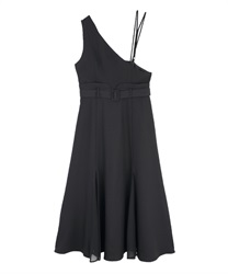One-shoulder long dress(Black-Free)
