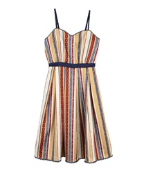 Stripe pattern dress(Orange-Free)