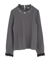 Neckless design rib pullover(Chachol-Free)