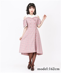 【2Buy10%OFF】Checked Shoulder-Opening Dress(DarkPink-Free)