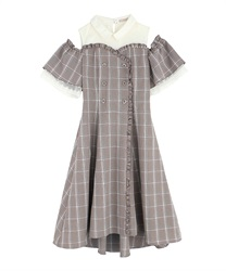 【2Buy10%OFF】Checked Shoulder-Opening Dress(Brown-Free)