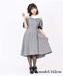 【2Buy10%OFF】Checked Shoulder-Opening Dress(Black-Free)