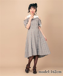 【2Buy10%OFF】Checked Shoulder-Opening Dress