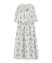 Frilled Collar Floral Pattern Short Sleeve Dress(Ecru-Free)