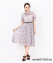 Frilled Collar Floral Pattern Short Sleeve Dress(Pale pink-Free)