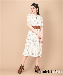 Frilled Collar Floral Pattern Short Sleeve Dress