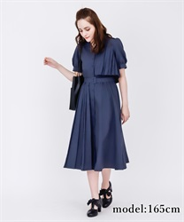 Trench Pleated Shirt Dress(Navy-Free)