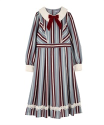 Stripe dress(Saxe blue-Free)