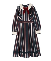 Stripe dress(Navy-Free)