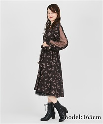 Tulle sleeve shirt one-piece(Brown-Free)