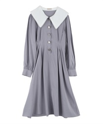Waist Dart Slim Look Dress with Variate Button Decoration(Grey-Free)
