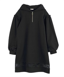 Hoodie dress with lace design(Black-Free)