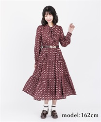 【2Buy10%OFF】Vintage Patterned Dress(Wine-Free)