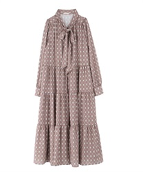 【2Buy10%OFF】Vintage Patterned Dress(Mocha-Free)