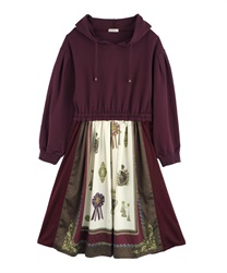 Scarf Pattern Hoodie Dress(Wine-Free)