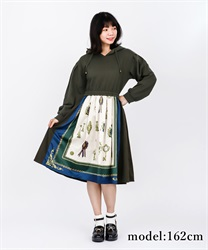 Scarf Pattern Hoodie Dress(Green-Free)
