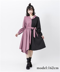 【2Buy10%OFF】Bicolor asymmetry dress(Purple-Free)
