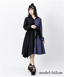 【2Buy10%OFF】Bicolor asymmetry dress(Black-Free)