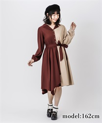 【2Buy10%OFF】Bicolor asymmetry dress