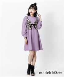 【2Buy10%OFF】Cut dress with bustier(Purple-Free)