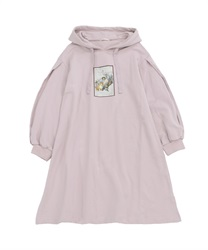 Printed hoodie dress(Pale pink-Free)