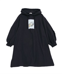 Printed hoodie dress(Black-Free)
