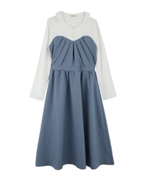Layered dress(Saxe blue-Free)