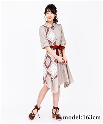 Patterned switchable ilehem shirt OP(Beige-Free)