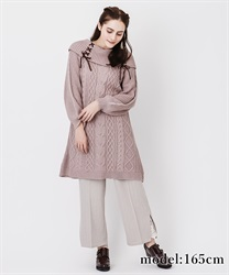Double lace up knit tunic(Pale pink-Free)