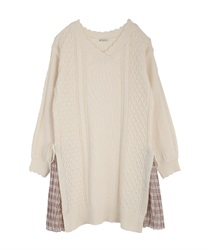 Side pleated knit tunic(Ecru-Free)