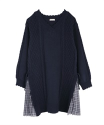 Side pleated knit tunic(Navy-Free)